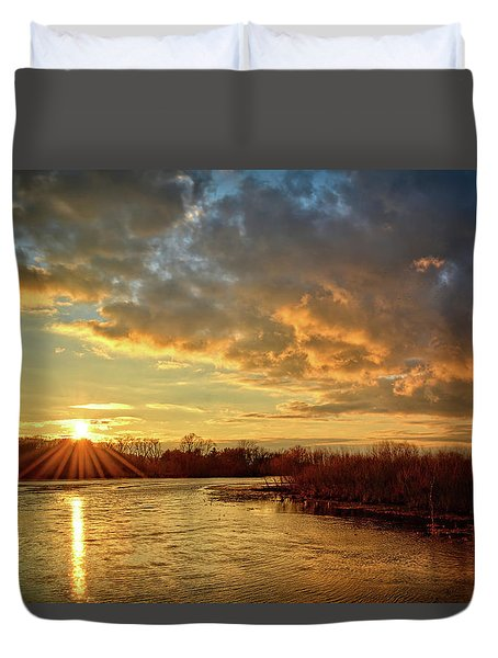 Sunset Over Marsh Duvet Cover