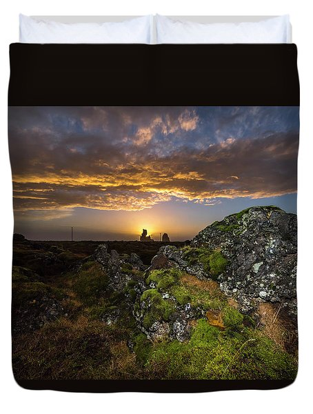 Sunset Over Marsh Duvet Cover by Joe Belanger