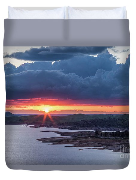 Sunset Over Millerton Lake  Duvet Cover