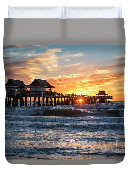 Duvet Cover featuring the photograph Sunset Over Naples Pier by Brian Jannsen
