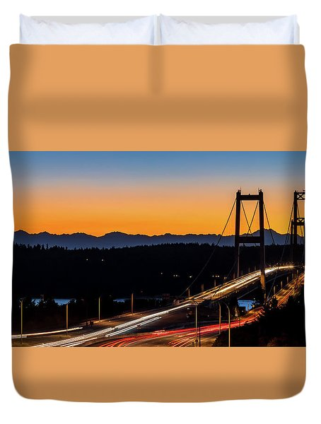 Sunset Over Narrrows Bridge Panorama Duvet Cover by Rob Green