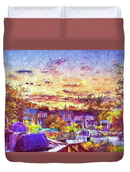 Sunset Over Ne Baltimore, Md Duvet Cover