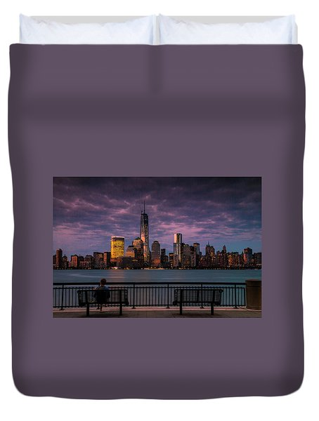 Duvet Cover featuring the photograph Sunset Over New World Trade Center New York City by Ranjay Mitra
