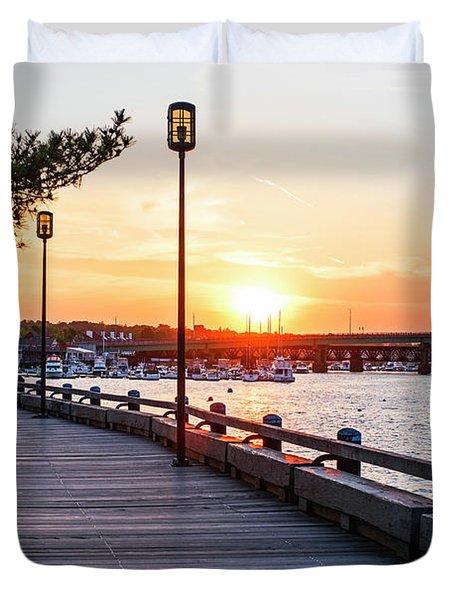 Sunset Over Newburyport Ma Merrimack River Newburyport Turnpike Duvet Cover