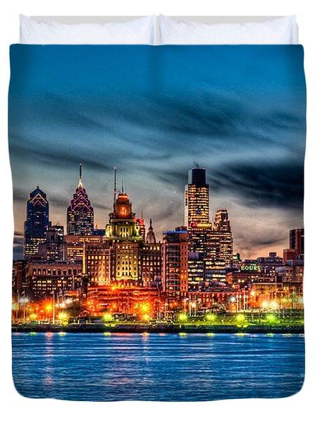 Sunset Over Philadelphia Duvet Cover