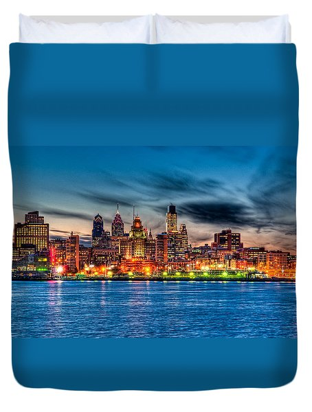 Sunset Over Philadelphia Duvet Cover by Louis Dallara