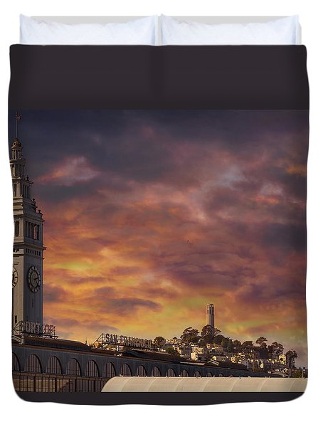 Sunset Over Port Of San Francisco Ferry Building Duvet Cover