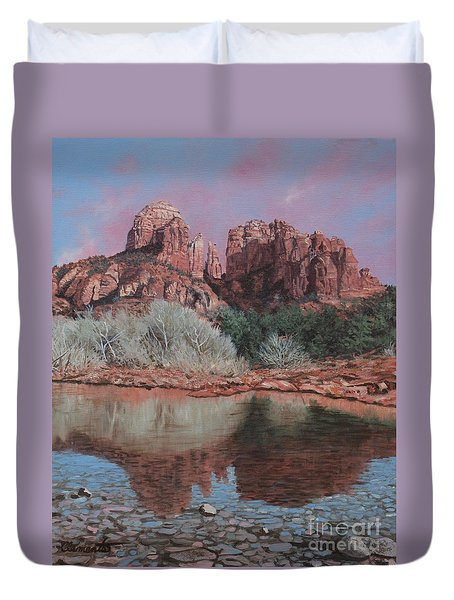Sunset Over Red Rocks Of Sedona  Duvet Cover