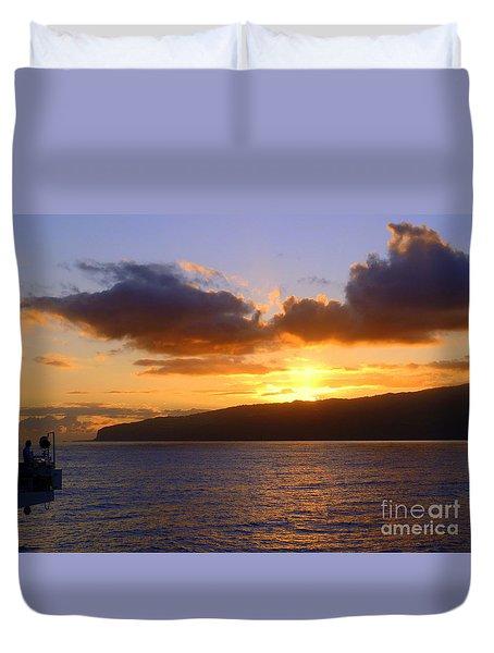 Sunset Over Reunion Island Duvet Cover