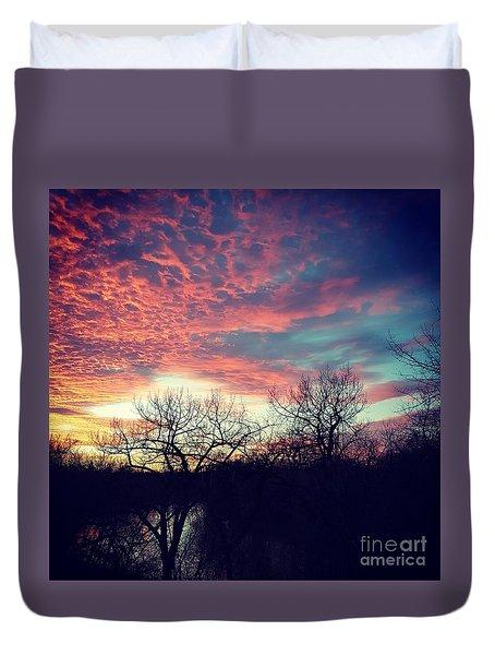 Sunset Over River Duvet Cover
