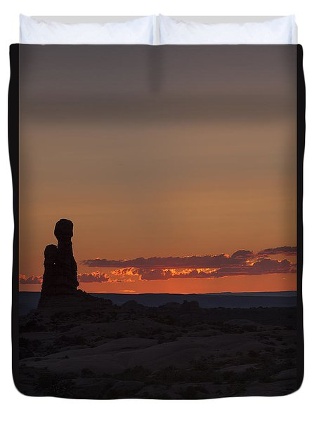 Sunset Over Rock Formation Duvet Cover
