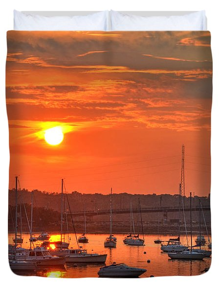 Sunset Over Salem Harbor Salem Beverly Bridge 2 Duvet Cover