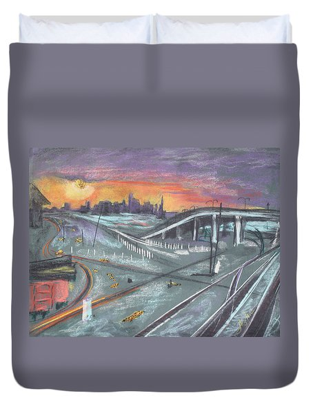 Duvet Cover featuring the painting Sunset Over San Francisco And Oakland Train Tracks by Asha Carolyn Young
