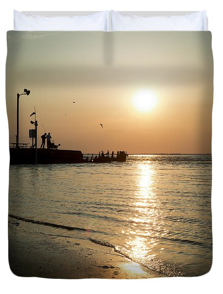 Duvet Cover featuring the photograph Sunset Over San Luis Pass by Ray Devlin