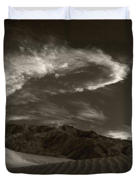 Sunset Over Sand Dunes Death Valley Duvet Cover by Steve Gadomski