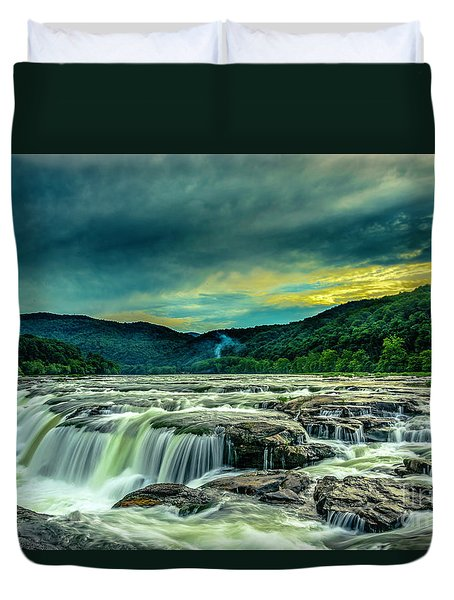 Sunset Over Sandstone Falls Duvet Cover
