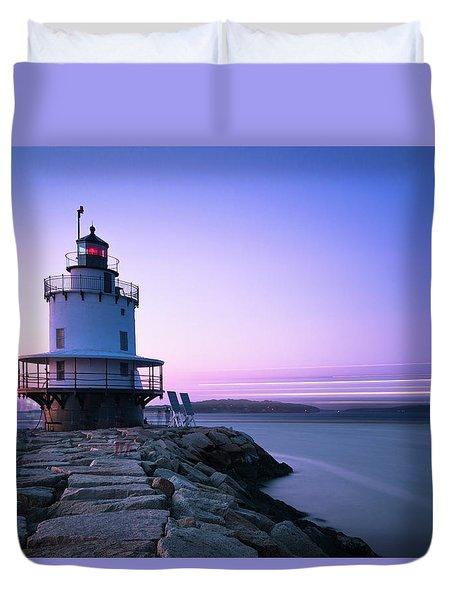 Sunset Over Spring Breakwater Lighthouse In South Maine Duvet Cover