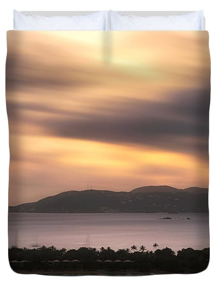Duvet Cover featuring the photograph Sunset Over St. John And St. Thomas Panoramic by Adam Romanowicz