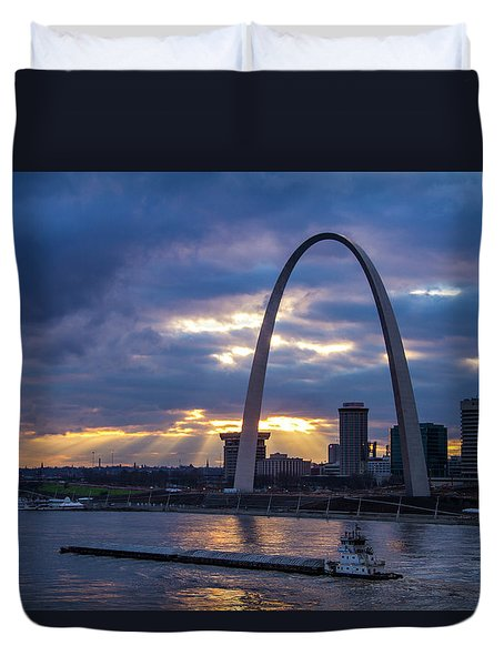 Sunset Over St Louis Duvet Cover