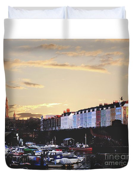 Duvet Cover featuring the photograph Sunset Over St Mary Redcliffe Bristol by Terri Waters