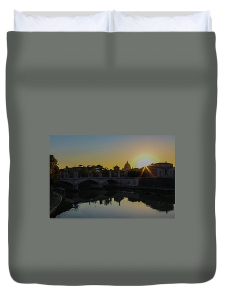 Sunset Over St Peters Duvet Cover