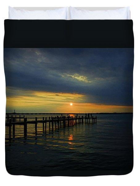 Sunset Over The Bay Duvet Cover