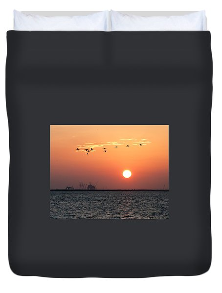 Sunset Over The Bay Duvet Cover
