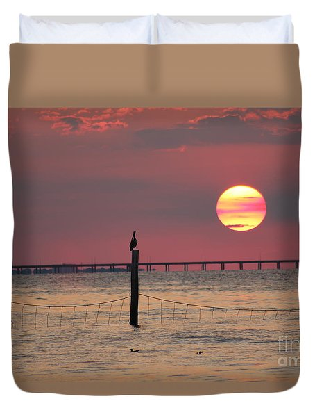 Sunset Over The Bay Bridge Tunnel Duvet Cover