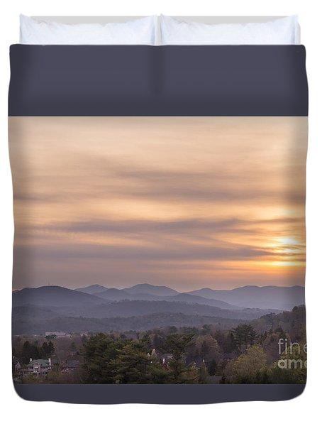 Sunset Over The Blue Ridge In Asheville, Nc Duvet Cover