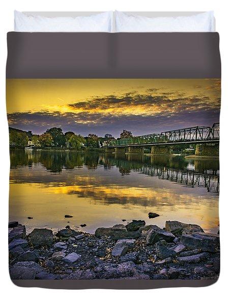 Sunset Over The Bridge Duvet Cover