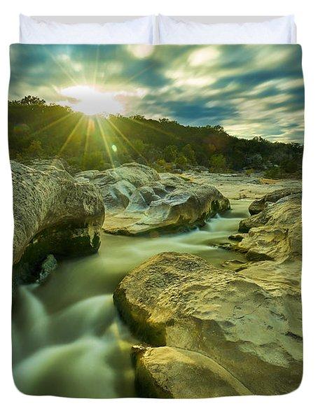 Sunset Over The Cascade Duvet Cover