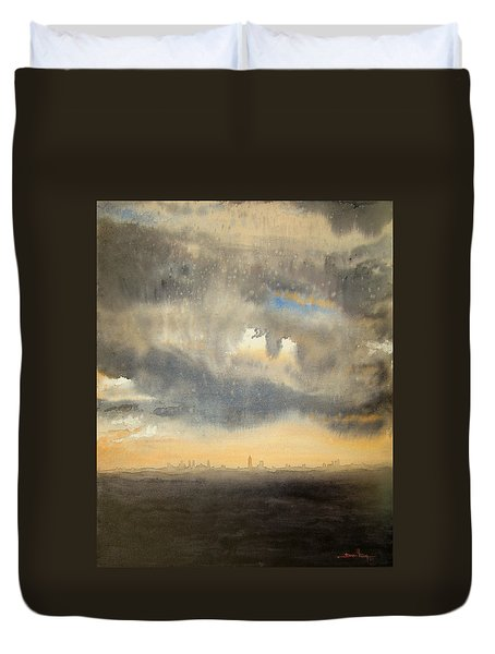 Duvet Cover featuring the painting Sunset Over The City by Andrew King