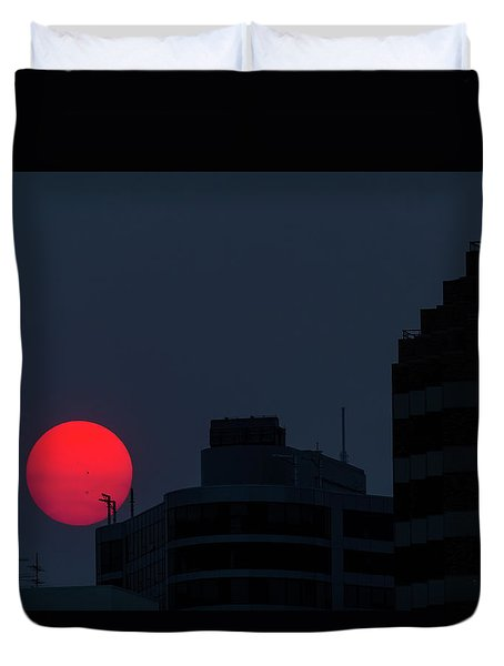 Sunset Over The City Of Portland Oregon Duvet Cover