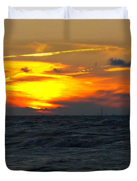 Sunset Over The City Duvet Cover