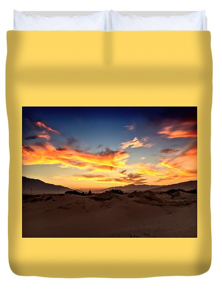Sunset Over The Desert Duvet Cover by Chris Tarpening