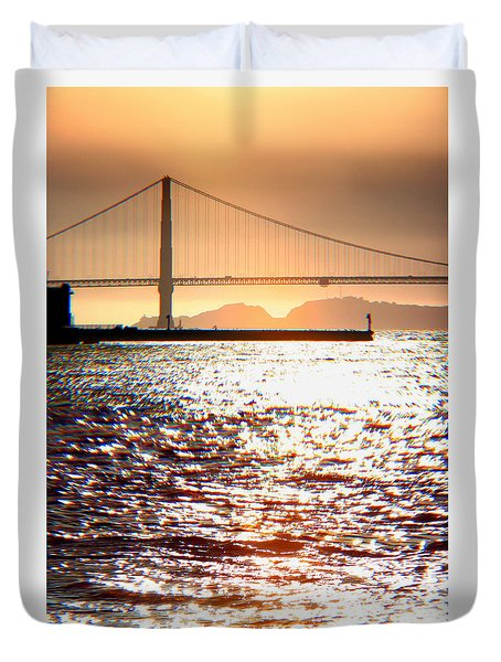 Sunset Over The Golden Gate Bridge Duvet Cover by Wernher Krutein