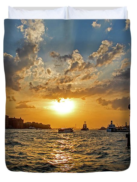 Sunset Over The Grand Canal In Venice Duvet Cover