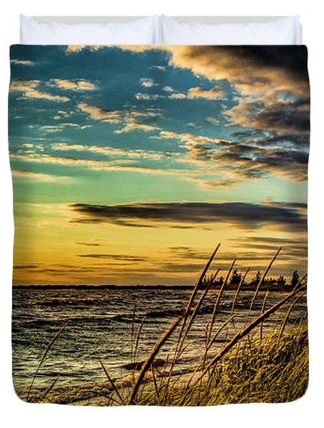Sunset Over The Great Lake Duvet Cover