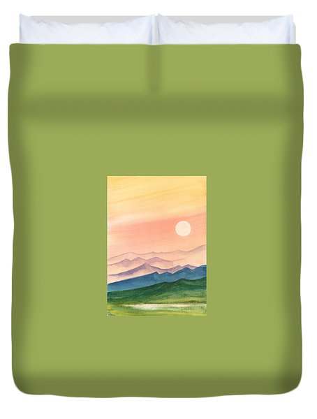 Duvet Cover featuring the painting Sunset Over The Hills by Asha Sudhaker Shenoy