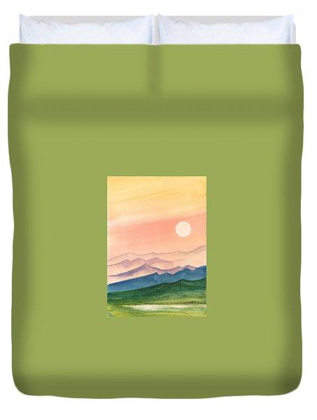 Sunset Over The Hills Duvet Cover