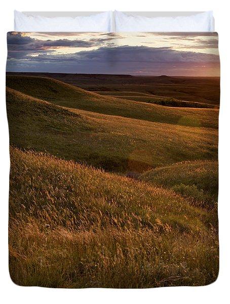 Sunset Over The Kansas Prairie Duvet Cover