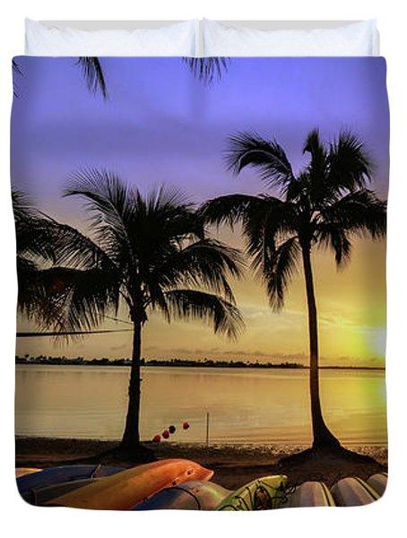 Sunset Over The Kayaks Duvet Cover