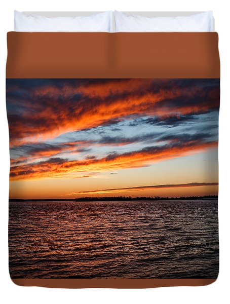 Sunset Over The Lake Duvet Cover by Doug Long
