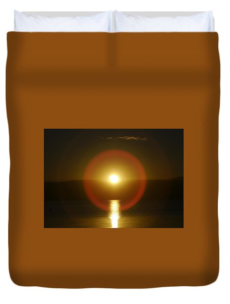 Sunset Over The Lake Duvet Cover