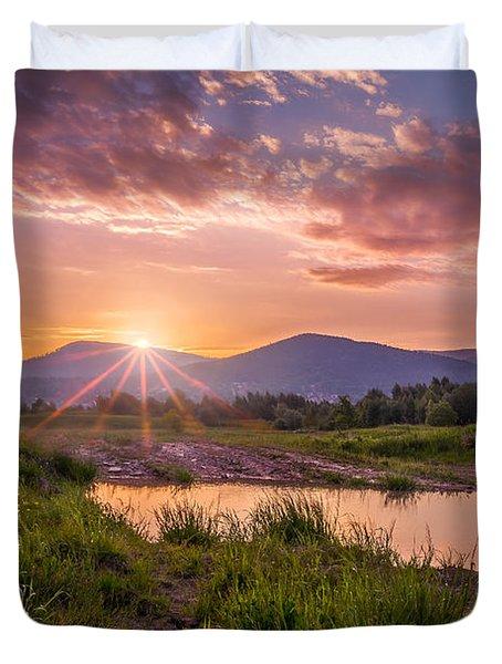 Sunrise Over The Little Beskids Duvet Cover