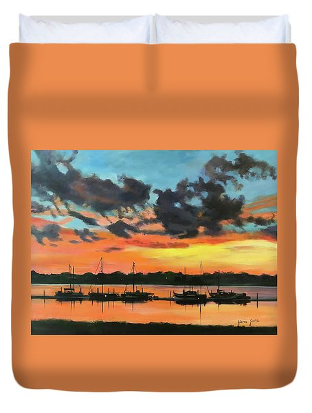 Sunset Over The Marina Duvet Cover
