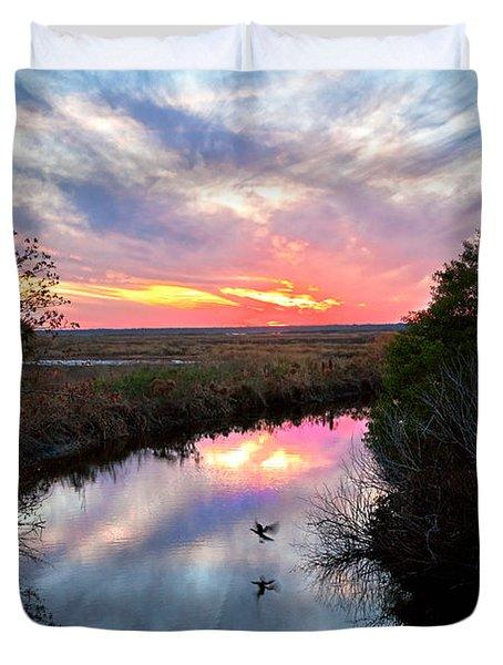 Sunset Over The Marsh Duvet Cover by Christopher Holmes