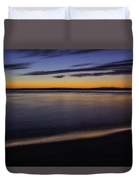 Duvet Cover featuring the photograph Sunset Over The Merrimack River Plum Island by Betty Denise