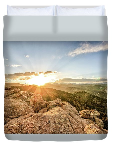 Duvet Cover featuring the photograph Sunset Over The Mountains Of Flaggstaff Road In Boulder, Colorad by Peter Ciro