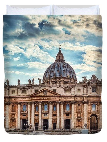 Sunset Over The Papal Basilica Of Saint Peter Duvet Cover